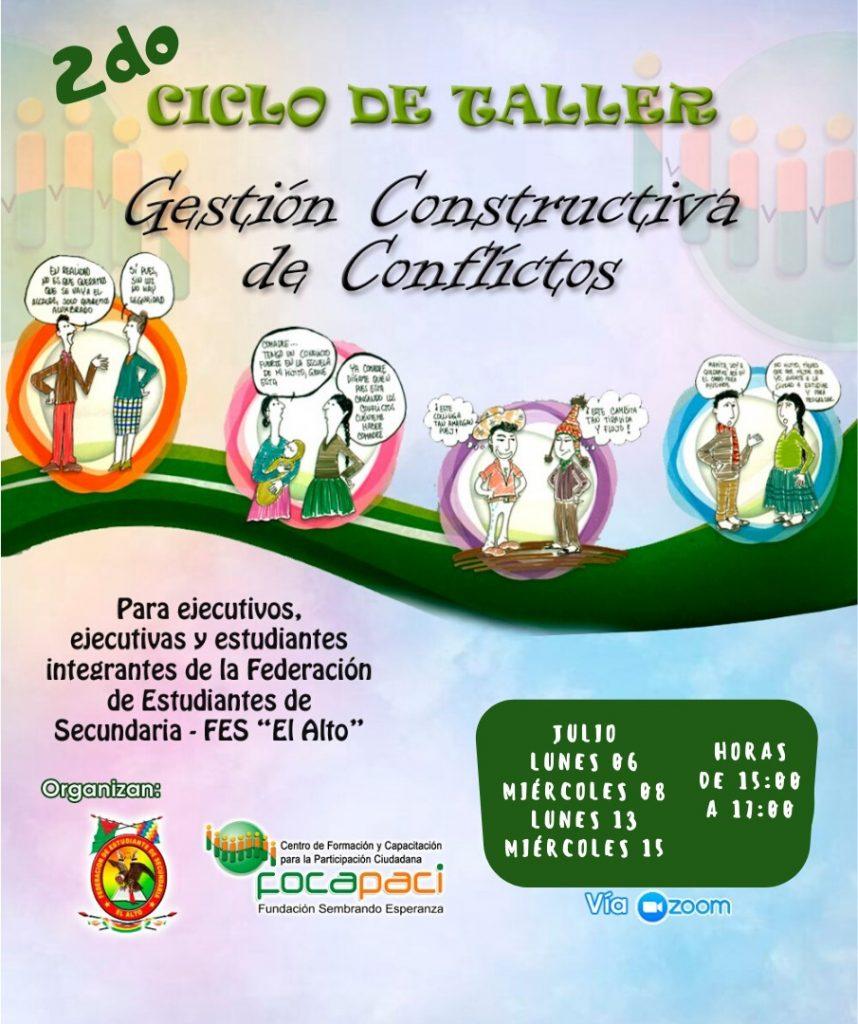 Plakat einer SchülerInnen-Fortbildung zum Thema Konfliktbearbeitung. Bild: FOCAPACI